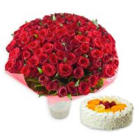 Букет 101 red roses + cake as a gift