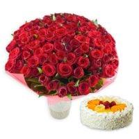 Букет 101 червона троянда + торт в подарунок Київ