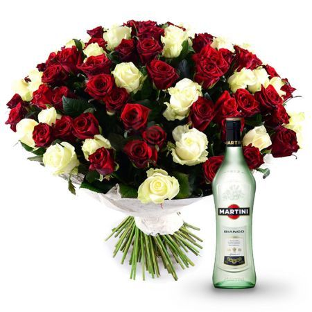 Букет 101 red-and-white roses + Martini Bianco