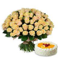 Букет 101 кремова троянда + торт в подарунок Київ