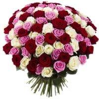 Букет 101 різнокольорова троянда Київ