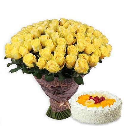 Букет 111 yellow roses + cake as a gift