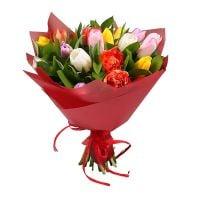 Букет 19 різнокольорових тюльпанів Київ