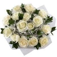 Букет Букет 15 белых роз Белоснежка