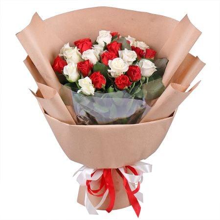 Букет 25 красных и белых роз