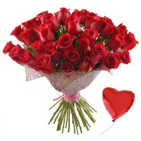 Bouquet 51 premium roses + balloon