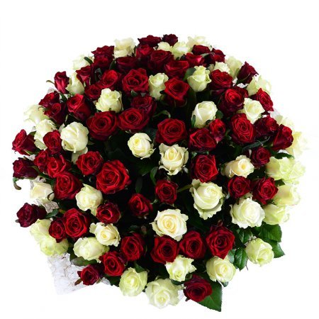 Букет 101 red-and-white roses