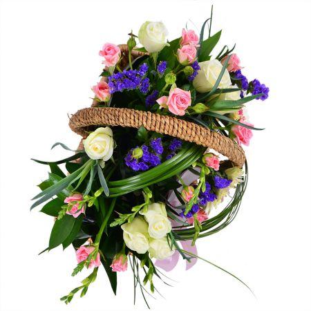 Букет Корзина цветов с лентой