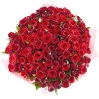 Букет 101 алая роза 60 см
