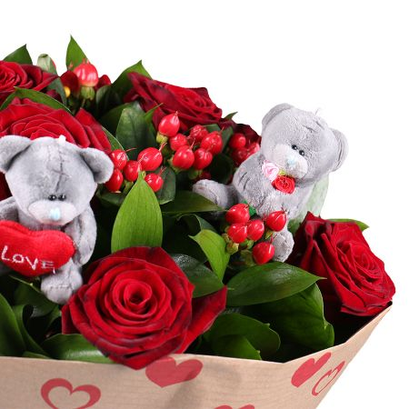 Букет Bouquet of roses with teddies