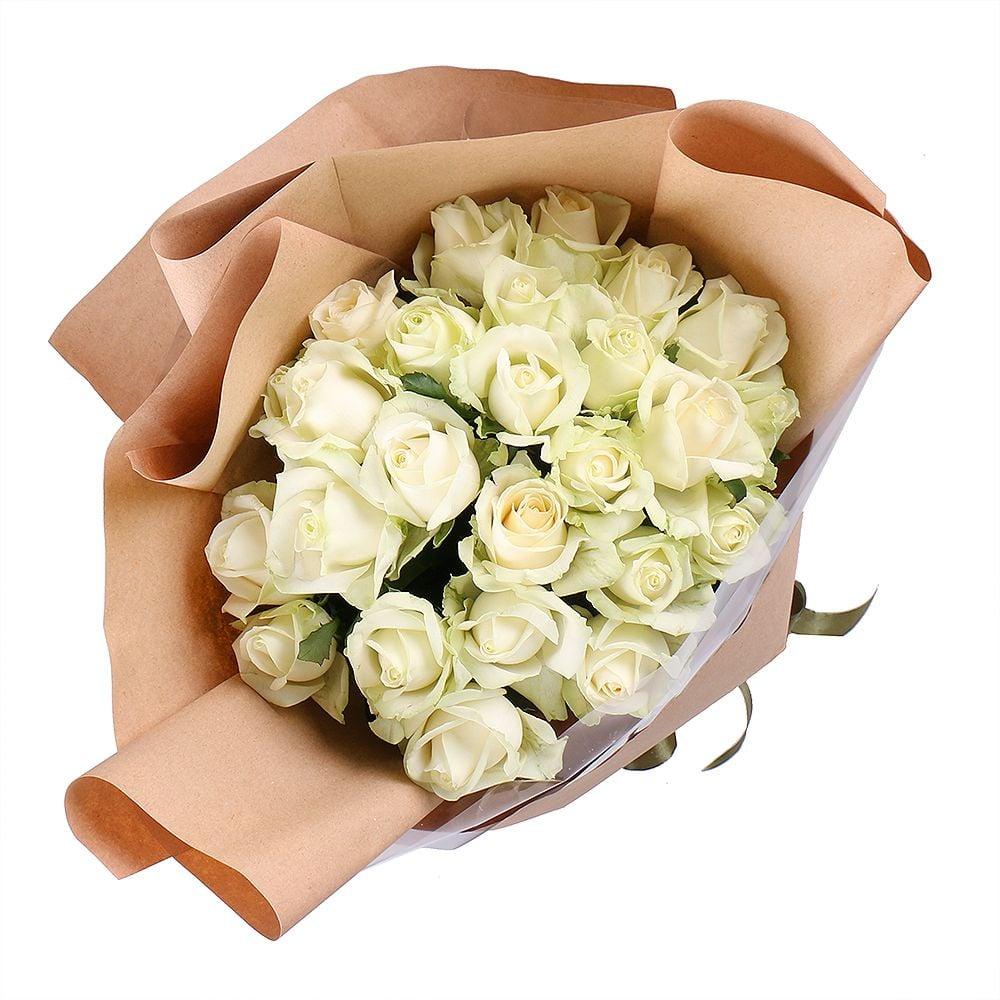Букет 25 белых роз Аваланч