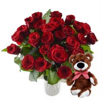 Букет Акция! Рубиновый букет 25 роз + мишка в подарок Москва