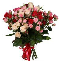 Заказать букет из 15-ти кустовых роз в интернет-магазине с доставкой