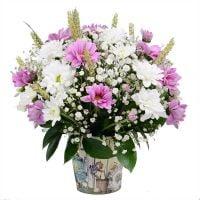 Букет для леди, бело-розовый букет цветов, цветы в вазе