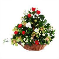 букет корабль,белые красные розы, бело-красный букет