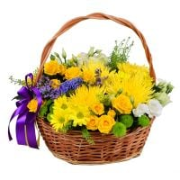 Basket of sunny flowers