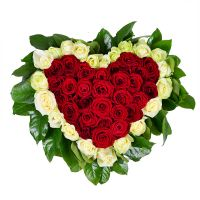 Букет Червоно-біле серце Київ