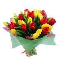 Букет Красные и желтые тюльпаны