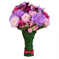 Купить свадебный букет в розовых тонах «Малиновая лесть»