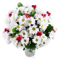 Букет «Моей второй половинке» из белых хризантем с доставкой