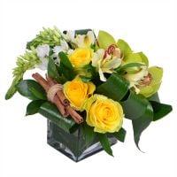 Букет «Комплимент бизнес-леди», бизнес-букет, букет директору, букет для руководителя, желтые розы,