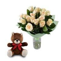 Нежный подарок (розы+мишка)