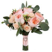 Шарлотта, букет невесты, букет невесты с розами, букет невесты с розами Дэвида Остина, кремовый буке