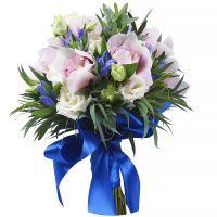 Купить букет для невесты «Лазурь» в нежно голубых и розовых тонах. Доставка!