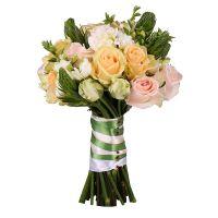 Нежный букет невесты, кремовый букет невесты,  розовый букет невесты, персиковый букет невесты, буке