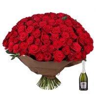 Букет Обольщение 101 роза + Asti Martini Киев