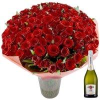 Букет Обольщение 101 роза + Asti Martini