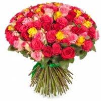 Букет Разноцветные розы 101 шт Киев