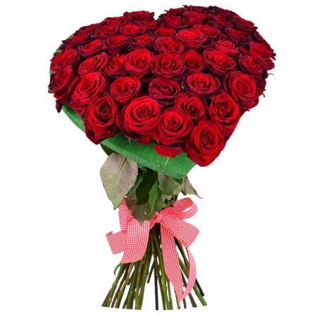 Букет из роз в виде сердца фото