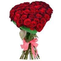 Купить оригинальный букет красных роз в виде сердца