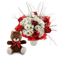 Bouquet Bright Surprise (Bouquet+Teddy Bear)