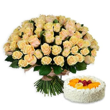 101 кремовая роза + торт в подарок Киев