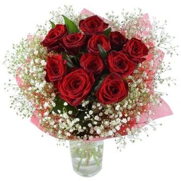 Зимний рассвет 11 алых роз Занесвиль