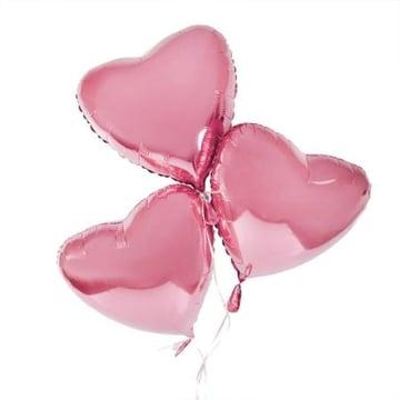 3 розовых фольгированных сердца Киев