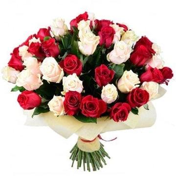 Красно-кремовые розы (51 шт.) Брест (Беларусь)