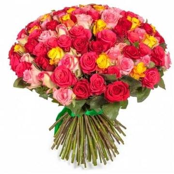 Разноцветные розы 101 шт Нойальбенройт