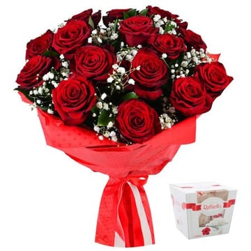 Розы в снегу + Конфеты Raffaello Нубарашен