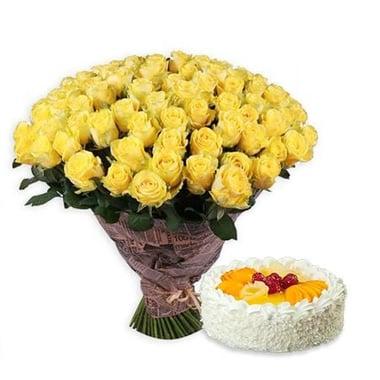 111 жовтих троянд + торт в подарунок Київ