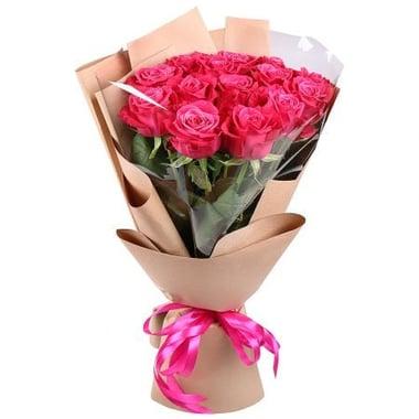 15 малиновых роз Югорск