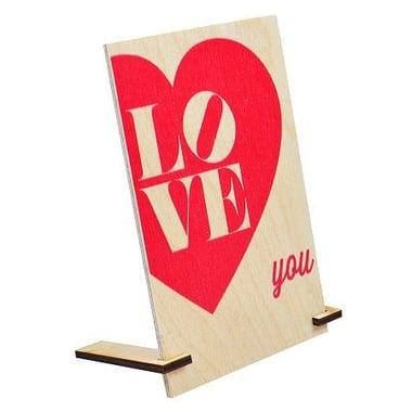 Деревянная открытка LOVE YOU Киев