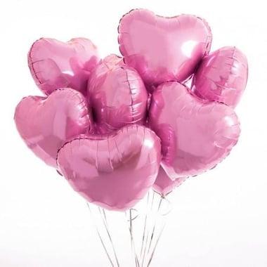 7 розовых фольгированных сердец Киев