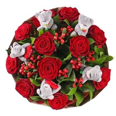 Красные розы с мишками teddy Арыс