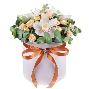 Коробка с розами и орхидеями Киев