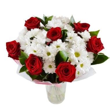 Букет из красных роз и хризантем Шанхай