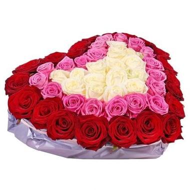 Різнокольорове серце з троянд Київ
