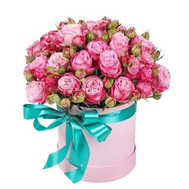 Розовые кустовые розы в коробке Бердянск